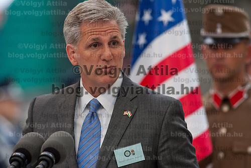Kevin McCarthy (L), leader of the US congress delegation delivers his speech during the inauguration of the new statue of Ronald Reagan on the square named Freedom in Budapest, Hungary. Wednesday, 29. June 2011. ATTILA VOLGYI