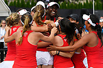 WINSTON SALEM, NC - MAY 22: Teammates rush Melissa Lord of the Stanford Cardinal after her clinching victory over the Vanderbilt Commodores during the Division I Women's Tennis Championship held at the Wake Forest Tennis Center on the Wake Forest University campus on May 22, 2018 in Winston Salem, North Carolina. Stanford defeated Vanderbilt 4-3 for the national title. (Photo by Jamie Schwaberow/NCAA Photos via Getty Images)
