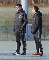 20170118 - TUBIZE , Belgium : Belgian coach Ives Serneels (L) and a staff member  pictured during a training session of the Belgian national women's soccer team Red Flames during their winter camp, on the 18 th of January in Tubize. PHOTO DIRK VUYLSTEKE | Sportpix.be