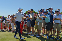Jordan Spieth (USA) shakes hands with fans as he approaches 10 during round 1 of the AT&amp;T Byron Nelson, Trinity Forest Golf Club, at Dallas, Texas, USA. 5/17/2018.<br /> Picture: Golffile | Ken Murray<br /> <br /> <br /> All photo usage must carry mandatory copyright credit (&copy; Golffile | Ken Murray)