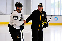 September 15, 2017: Boston Bruins forward Teddy Purcell (41) shakes hands with a coach Teddy Purcell during the Boston Bruins training camp held at Warrior Ice Arena in Brighton, Massachusetts. Eric Canha/CSM