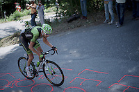 former Giro winner Ryder Hesjedal (CAN/Cannondale-Garmin) on his way to join Alberto Contador up the Monte Ologno (1168m)<br /> <br /> Giro d'Italia 2015<br /> stage 18: Melide (SUI) - Verbania (170km)