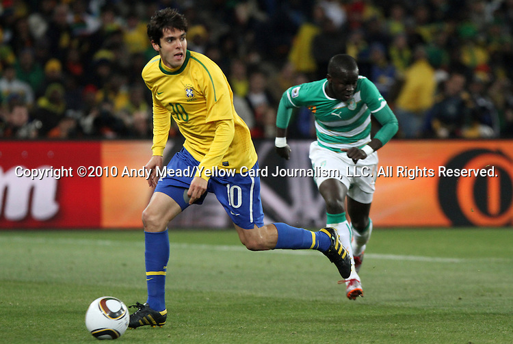 20 JUN 2010: Kaka (BRA). The Brazil National Team defeated the C'ote d'Ivoire National Team 3-1 at Soccer City Stadium in Johannesburg, South Africa in a 2010 FIFA World Cup Group G match.