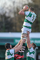 Harry CASSON of Ealing Trailfinders collects the ball in the line out during the Greene King IPA Championship match between Ealing Trailfinders and Jersey Reds at Castle Bar , West Ealing , England  on 22 December 2018. Photo by David Horn.