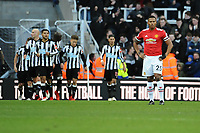 A furious looking Luis Antonio Valencia of Manchester United during Newcastle United vs Manchester United, Premier League Football at St. James' Park on 11th February 2018