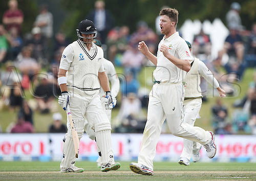 23.02.2016. Christchurch, New Zealand.  Jackson Bird celebrates the wicket of Anderson on Day 4 of the 2nd test match. New Zealand Black Caps versus Australia. Hagley Oval in Christchurch, New Zealand. Tuesday 23 February 2016.