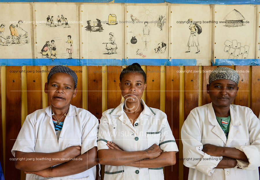 ETHIOPIA Taza Catholic Health Center, three nurses / AETHIOPIEN Taza Catholic Health Center, Mitarbeiter