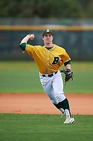 North Dakota State Bison second baseman Drew Fearing (14) during warmups before a game against the Central Connecticut State Blue Devils on February 23, 2018 at North Charlotte Regional Park in Port Charlotte, Florida.  North Dakota State defeated Connecticut State 2-0.  (Mike Janes/Four Seam Images)