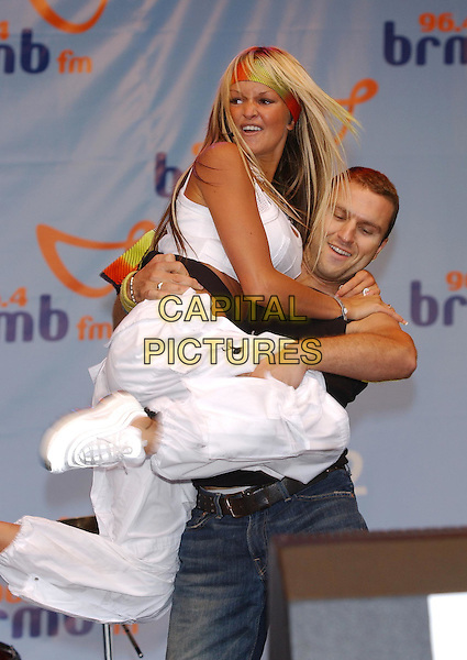 JENNIFER ELLISON.96.4 BRBM's Party in the Park .sales@capitalpictures.com.www.capitalpictures.com.©Capital Pictures.music, stage, live, concert, dancing, singing, white crop top, belt, headband, bandana, nike trainers