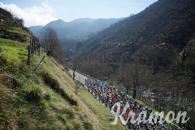 peloton on it's way to the Turchino Pass<br /> <br /> 107th Milano-Sanremo 2016