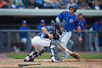 West Michigan Whitecaps catcher Brady Policelli (6) waits for a throw as Jared Young (16) of the South Bend Cubs heads towards home plate at Fifth Third Ballpark on June 10, 2018 in Comstock Park, Michigan. The Cubs defeated the Whitecaps 5-4.  (Brian Westerholt/Four Seam Images)