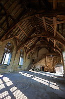 The interior of the great hall of the  finest fortified medieval manor house in England built in the 1280s, Stokesay Castle, Shropshire, England