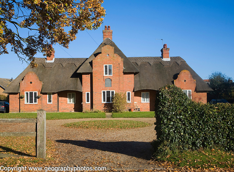 Almshouse building providing housing for the elderly, Wangford, Suffolk, England
