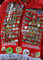 30th October 2019; Anfield, Liverpool, Merseyside, England; English Football League Cup, Carabao Cup, Liverpool versus Arsenal;  a Liverpool fans scarf and badge collection - Strictly Editorial Use Only. No use with unauthorized audio, video, data, fixture lists, club/league logos or 'live' services. Online in-match use limited to 120 images, no video emulation. No use in betting, games or single club/league/player publications