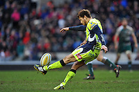 Danny Cipriani of Sale Sharks puts boot to ball. Aviva Premiership match, between Leicester Tigers and Sale Sharks on February 6, 2016 at Welford Road in Leicester, England. Photo by: Patrick Khachfe / JMP