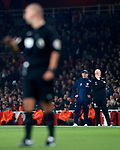 West Brom's Tony Pulis watches referee Bobby Madley during the premier league match at the Emirates Stadium, London. Picture date 25th September 2017. Picture credit should read: David Klein/Sportimage