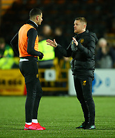 4th March 2020; Almondvale Stadium, Livingston, West Lothian, Scotland; Scottish Premiership Football, Livingston versus Celtic; Celtic coach Damian Duff gives advice to Nir Bitton of Celtic
