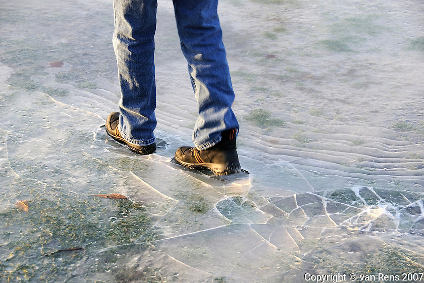 Fresh ice a fun platform for testing your footing and luck