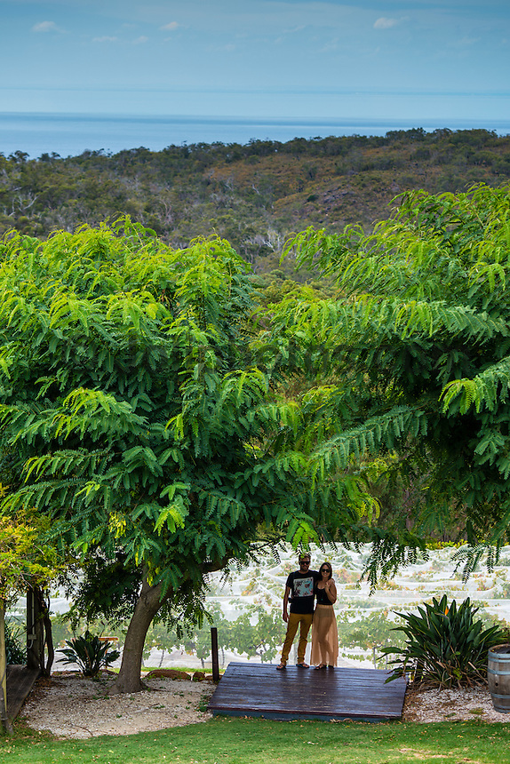 Margaret River, Western Australia (Tuesday, March 19, 2013) Professional surfer Adrian 'Ace' Buchan (AUS) with his wife Bec at Wise Winery, Eagle Bay, Dunsborough during the lay day. - Day Four of the Drug Aware Margaret River Pro was called off.today because small surf at the main break at Margaret River. .The surf was too small for the contest to run and a lay day was called. Conditions will reassessed tomorrow morning at 6.30am...Stop No. 2 of 8 on the ASP Women's World Championship Tour, will see the 2013 Drug Aware Margaret River Pro play a vital role in deciding this year's ASP Women's World Champion. The men's Division carries an ASP PRIME rating and is the first event of that calibre this year and the field of 96 of the world's best surfers are keen to set themselves up as front runners for 2014 ASP WCT qualification....Photo: joliphotos.com