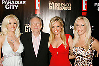 "27 September 2017 - Hugh Marston Hefner aka ""Hef"" was an American magazine publisher, editor, businessman, and international playboy best known as the editor-in-chief and publisher of Playboy magazine, which he founded in 1953. Hefner was the founder and chief creative officer of Playboy Enterprises, the publishing group that operates the magazine. Hefner was also a political activist and philanthropist. File Photo: 27 February 2007 - Holmby Hills, California - Holly Madison, Hugh Hefner, Bridget Marquardt, and Kendra Wilkinson. ""The Girls Next Door"" Season 3 Launch Party held at The Playboy Mansion. Photo Credit: Russ Elliot/AdMedia"