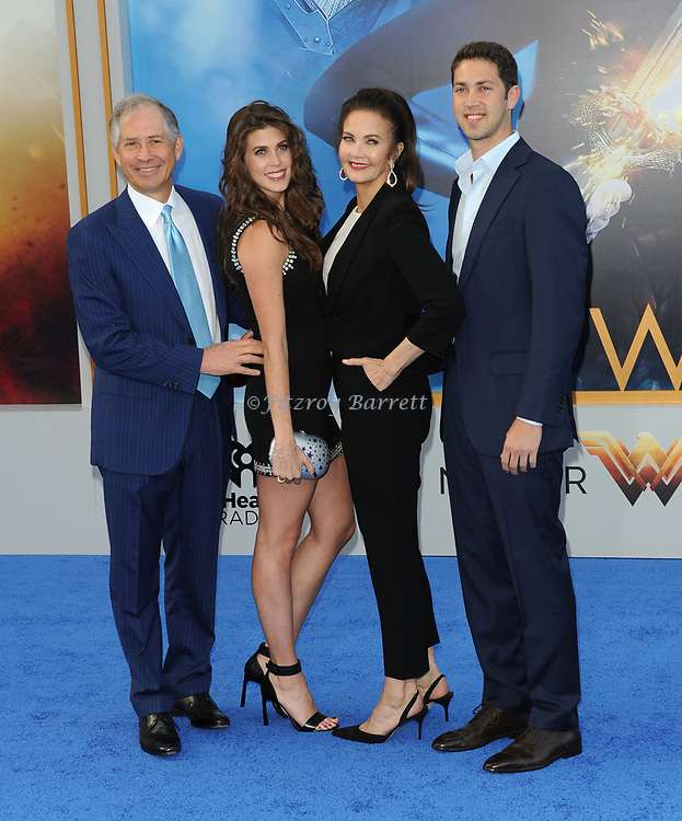 Lynda Carter with her family arriving at the Los Angeles world premiere of Wonder Women, held at the Pantages Theatre Hollywood, California on May 25, 2017
