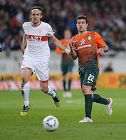 FUSSBALL  1. BUNDESLIGA  SAISON 2011/2012  31. SPIELTAG 13.04.2012 VfB Stuttgart - SV Werder Bremen Sokratis Papastathopoulos (li, SV Werder Bremen) gegen Christian Gentner (VfB Stuttgart)