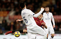 Calcio, Serie A: AS Roma - Atalanta, Roma, stadio Olimpico, 6 gennaio 2018.<br /> AS Roma's Stephan El Shaarawy (front) in action with Atalanta's Jos&eacute; Luis Palomino during the Italian Serie A football match between AS Roma and Atalanta at Rome's Olympic stadium, January 6 2018.<br /> UPDATE IMAGES PRESS/Isabella Bonotto
