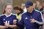 A Montoursville High School soccer player receives last minute instructions before the beginning of the game.