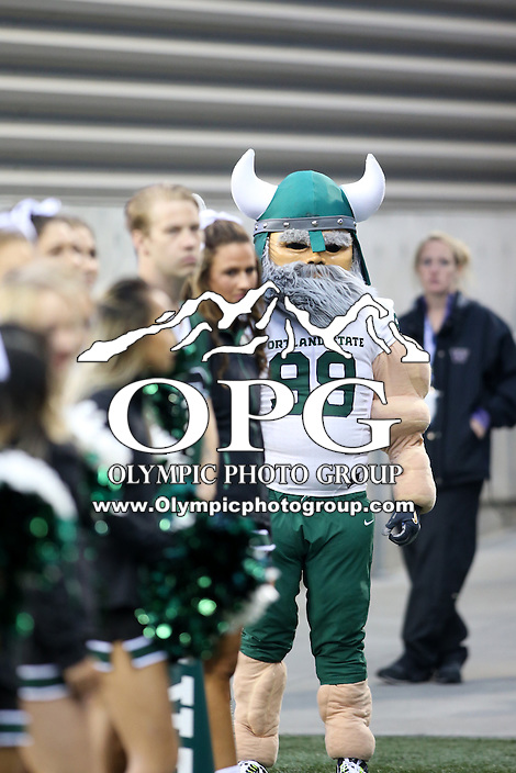 17 September 2016:   Portland State mascot Victor E. Viking against Washington. Washington defeated Portland State 41-3 at the University of Washington in Seattle, WA.