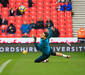 2nd December 2017, bet365 Stadium, Stoke-on-Trent, England; EPL Premier League football, Stoke City versus Swansea City; Lukasz Fabianski of Swansea City warms up for the game