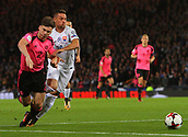 5th October 2017, Hampden Park, Glasgow, Scotland; FIFA World Cup Qualification, Scotland versus Slovakia;  Kieran Tierney is brought down in the box but no penalty is given