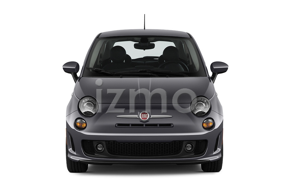 Car photography straight front view of a 2019 Fiat 500 Pop 3 Door Hatchback Front View