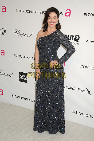 Sadie Alexandru.21st Annual Elton John Academy Awards Viewing Party held at West Hollywood Park, West Hollywood, California, USA..February 24th, 2013.oscars full length blue black one shoulder sleeve sparkly beads beaded dress hand on hip.CAP/ADM/BP.©Byron Purvis/AdMedia/Capital Pictures.