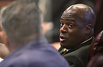 Nevada Sen. Kelvin Atkinson, D-North Las Vegas, works on the Senate floor at the Legislative Building in Carson City, Nev., on Sunday, June 2, 2013. <br /> Photo by Cathleen Allison