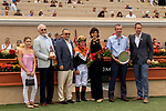 DEL MAR, CA  SEPTEMBER 3: Drayden Van Dyke and the connections of Summering in the winners circle after winning the Del Mar Juvenile Fillies Turf on September 3, 2018, at Del Mar Thoroughbred Club in Del Mar, CA.(Photo by Casey Phillips/Eclipse Sportswire/Getty Images)
