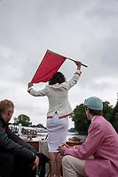 Henley-on-Thames. United Kingdom.  2017 Henley Royal Regatta, Henley Reach, River Thames. <br /> Henley Steward and Umpire.  Miss Guin BATTEN<br /> 10:20:53  Wednesday  28/06/2017<br /> <br /> [Mandatory Credit. Intersport Images].