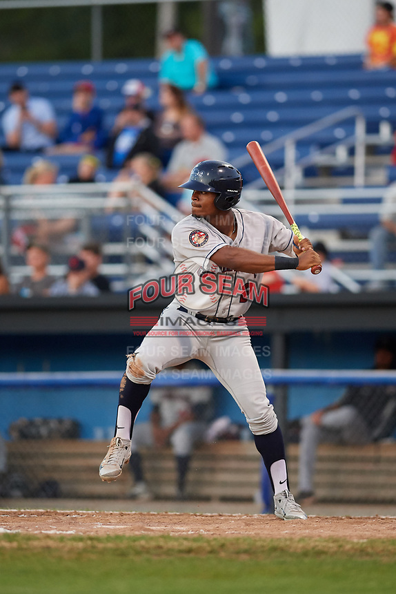 Mahoning Valley Scrappers left fielder Hosea Nelson (2) at bat during a game against the Batavia Muckdogs on August 16, 2017 at Dwyer Stadium in Batavia, New York.  Batavia defeated Mahoning Valley 10-6.  (Mike Janes/Four Seam Images)