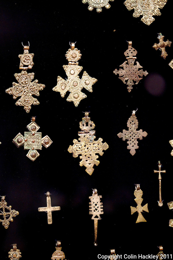 ETHIOPIAN CROSSES: A detail from the Ethiopian cross collection at The Black Archives in Tallahassee. Many of the crosses have 12 points representing the 12 disciples of Christ. .COLIN HACKLEY PHOTO