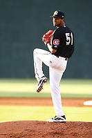 Minnesota Twins pitcher Ervin Santana (51) in action during a rehab start for the lookouts against the Montgomery Biscuits on May 23, 2018 at AT&T Field in Chattanooga, Tennessee. (Andy Mitchell/Four Seam Images)
