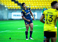 Highlanders' Josh Ioane watches his conversion attempt during the Super Rugby match between the Hurricanes and Highlanders at Westpac Stadium in Wellington, New Zealand on Friday, 1 March 2019. Photo: Dave Lintott / lintottphoto.co.nz