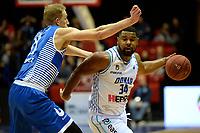 GRONINGEN - Basketbal, Donar - Landstede Zwolle, Martiniplaza, Dutch Basketbal league, seizoen 2018-2019, 02-02-2019, Donar speler Lance Jeter met Landstede speler Kevin Bleeker