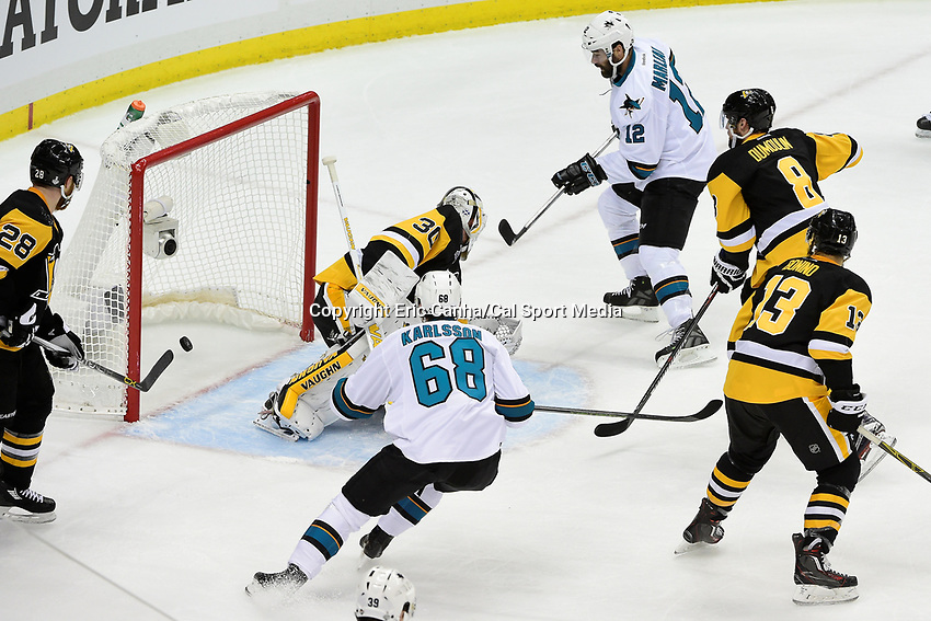 Thursday, June 9, 2016: San Jose Sharks right wing Melker Karlsson (68) scores a goal against Pittsburgh Penguins goalie Matt Murray (30) during game 5 of the NHL Stanley Cup Finals  between the San Jose Sharks and the Pittsburgh Penguins held at the CONSOL Energy Center in Pittsburgh Pennsylvania. Eric Canha/CSM