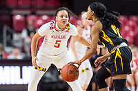 College Park, MD - DEC 6, 2016: Maryland Terrapins guard Destiny Slocum (5) gets back on defense during game between Towson and Maryland at XFINITY Center in College Park, MD. The Terps defeated the Tigers 97-63. (Photo by Phil Peters/Media Images International)