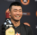 &ecirc;&not;&ntilde;&yuml;&ecirc;&Egrave;&ecirc;e/Norichika Aoki (Astros),<br /> JUNE 11, 2017 - MLB :<br /> Norichika Aoki of the Houston Astros attends a press conference after the Major League Baseball game against the Los Angeles Angels of Anaheim at Minute Maid Park in Houston, Texas, United States. He marked his 2000th career hit in the game to be inducted into the Meikyukai (Golden Players Club). (Photo by AFLO)