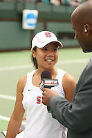 23 May 2006: Jessica Nguyen is interviewed by ESPN during Stanford's 4-1 win over the Miami Hurricanes in the 2006 NCAA Division 1 Women's Tennis Team Championships at the Taube Family Tennis Stadium in Stanford, CA.