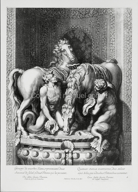 Sculptural group of 2 horses of the sun (celestial horses who pulled the sun across the sky) and 2 tritons or messengers of the sea, as grooms, white marble statue by Gilles Guerin, 1611-78, French sculptor, in the grotto in the gardens of the Palace of Versailles, in an engraving of 1676. Copyright © Collection Particuliere Tropmi / Manuel Cohen