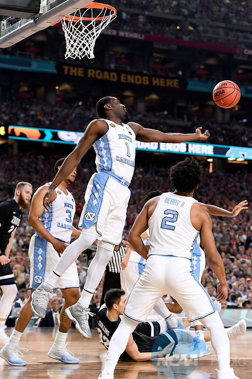 GLENDALE, AZ - APRIL 03: Theo Pinson #1 of the North Carolina Tar Heels reaches for a defensive rebound against the Gonzaga Bulldogs during the 2017 NCAA Men's Final Four National Championship game at University of Phoenix Stadium on April 3, 2017 in Glendale, Arizona.  (Photo by Jamie Schwaberow/NCAA Photos via Getty Images)
