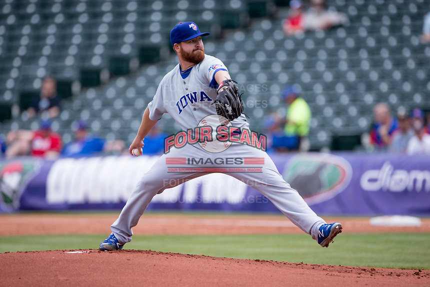 Zac Rosscup (16) of the Iowa Cubs pitches in a game against the Oklahoma City Dodgers at Chickasaw Bricktown Ballpark on April 9, 2016 in Oklahoma City, Oklahoma.  Oklahoma City defeated Iowa 12-1 (William Purnell/Four Seam Images)
