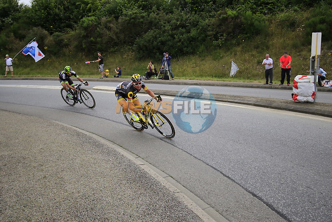 Breakaway riders Thomas Voeckler (FRA) Direct Energie and Armindo Fonseca (FRA) Fortuneo-Vital Concept pass through Segre during Stage 3 of the 2016 Tour de France, running 223.5km from Granville to Angers, France . 4th July 2016.<br /> Picture: Eoin Clarke | Newsfile<br /> <br /> <br /> All photos usage must carry mandatory copyright credit (&copy; Newsfile | Eoin Clarke)