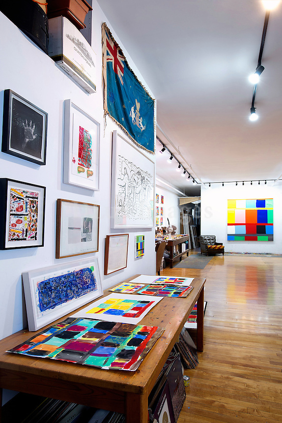 atelier of paintings<br /> <br /> Artist couple, Stanley Whitney and Marina Adams, transformed a factory loft into a 2000 sq. ft. working studio and living space in the Cooper Square area of New York City.